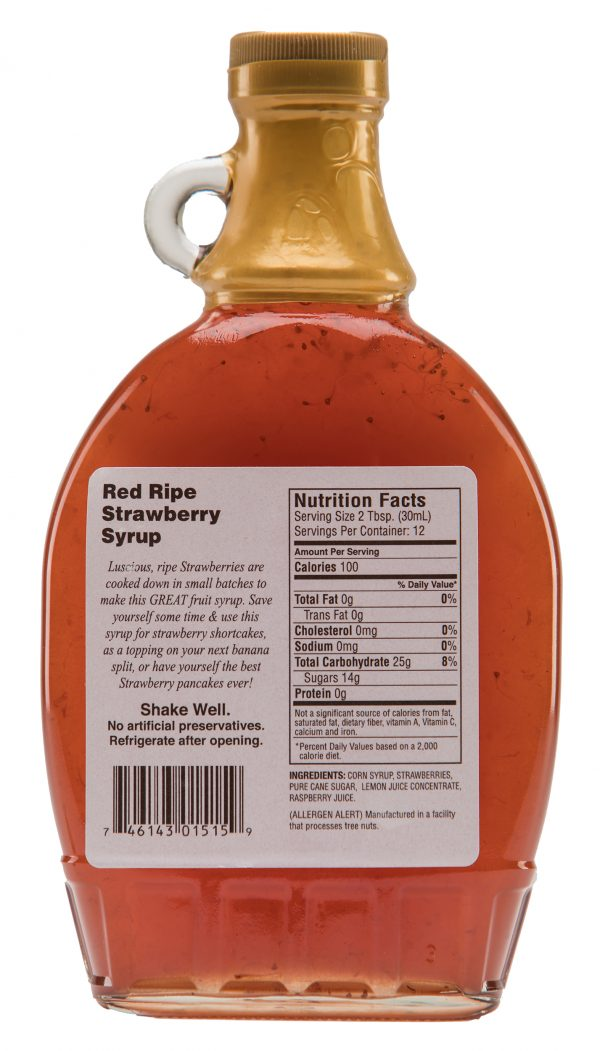red ripe stawberry syrup label