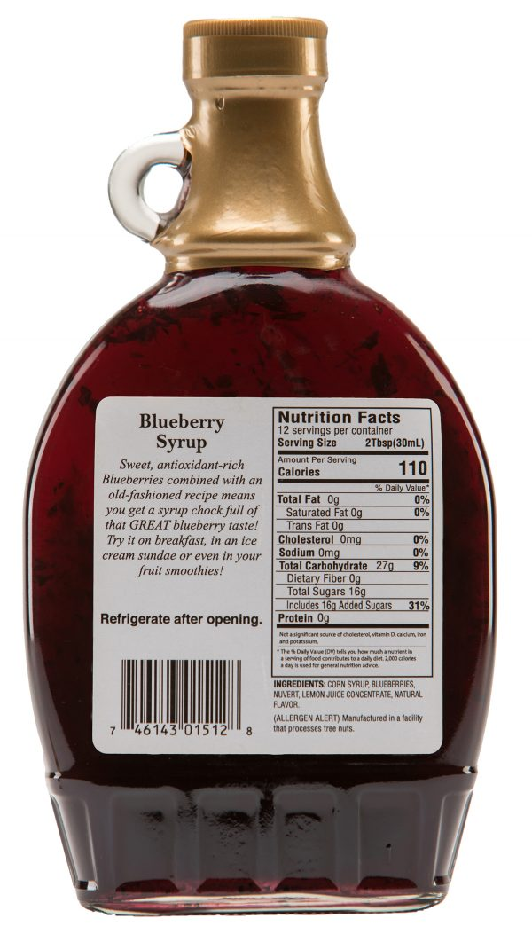 blueberry syrup label