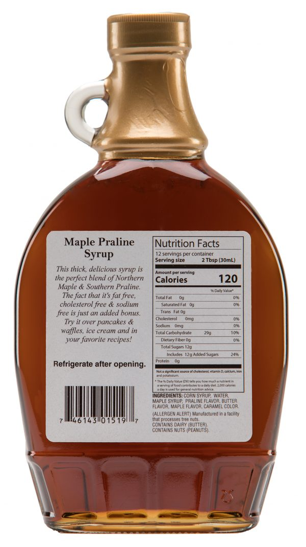 maple praline syrup label